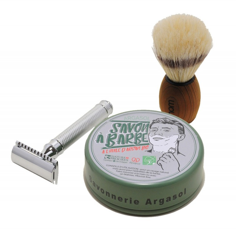 Ensemble à barbe (Savon bio artisanal à barbe + blaireau + planchette + 1 Savon bio artisanal) - Savonnerie Argasol