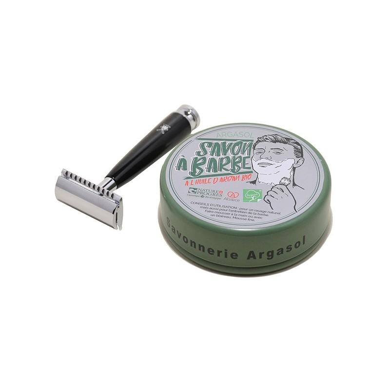 Ensemble savon à barbe et rasoir - Savonnerie Argasol