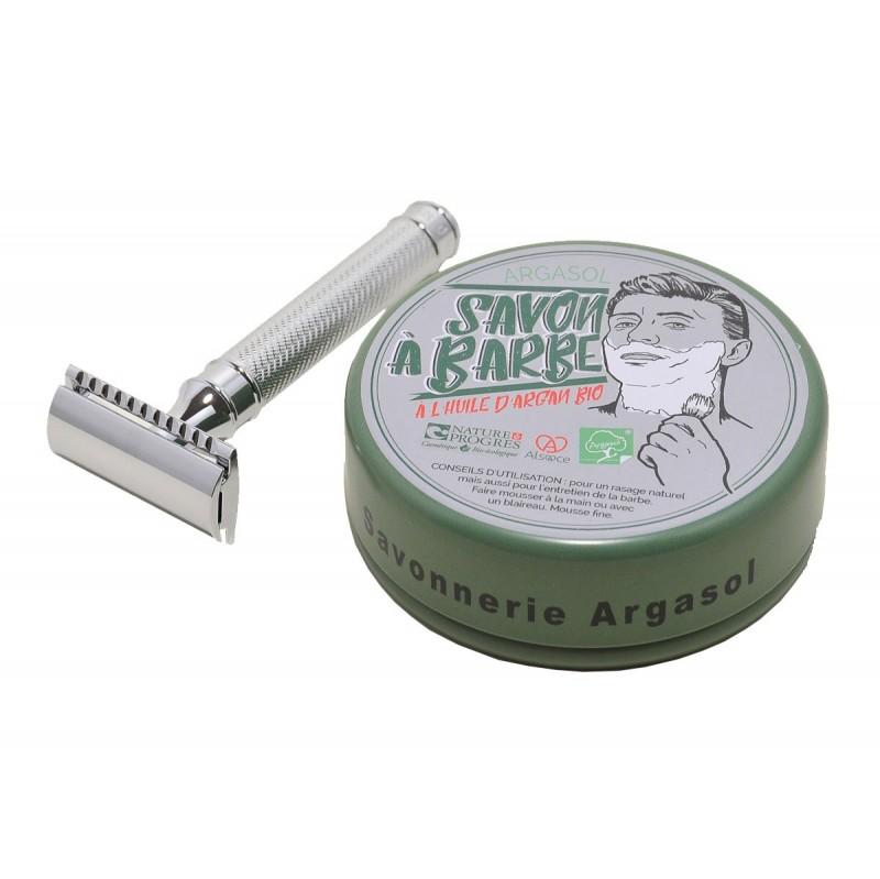 Ensemble savon à barbe et rasoir manche noir chromé - Savonnerie Argasol